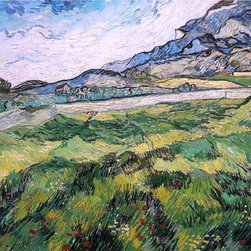 "Vincent Van Gogh Green Wheat Field - 16"" x 20"" Premium Archival Print - 16"" x 20"" Vincent Van Gogh Green Wheat Field premium archival print reproduced to meet museum quality standards. Our museum quality archival prints are produced using high-precision print technology for a more accurate reproduction printed on high quality, heavyweight matte presentation paper with fade-resistant, archival inks. Our progressive business model allows us to offer works of art to you at the best wholesale pricing, significantly less than art gallery prices, affordable to all. This line of artwork is produced with extra white border space (if you choose to have it framed, for your framer to work with to frame properly or utilize a larger mat and/or frame).  We present a comprehensive collection of exceptional art reproductions byVincent Van Gogh."