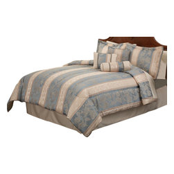 Pem America - Fenwick Manor Queen Comforter Set with Bonus Pillows - Classic scroll with an aqua blue base with woven in details. Includes 1 queen comforter 86x86 inches with two standard shams (20x26 inches), bed skirt to fit mattress 60x80 inches. 3 BONUS PILLOWS included to add that final touch to your bed. Jacquard woven polyester face cloth with 100% hypoallergenic polyester fiber fill. Dry Clean Only.
