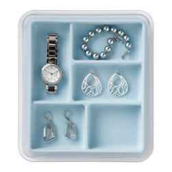 Neatnix - Jewelry Stax, 5 Compartment, Light Blue - Elegantly organize with our Neatnix Jewelry Stax 5 Compartment tray. Each tray is made with a tarnish-resistant, velvety liner to protect your valuables. Ideal for earrings, bracelets, and other smaller items. This modular tray stacks with other Jewelry Stax trays and slides for easy access to other trays. Each tray comes with a dust cover to minimize maintenance.