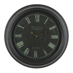 None - Round 19-inch Vintage Black Metal Wall Clock - Add rustic elegance and fresh perspective to any wall in your home or office with this Round Vintage Metal Wall Clock. This decorative piece measures 19 inches in diameter and features a stunning black frame finish.