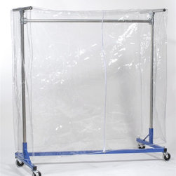 Z Racks - Clear Vinyl Cover with Zipper for 60 in. Z-Ra - Fits 60 in. Garment Racks. Garment Rack not included. 64 in. L x 60 in. H x 24 in. DThis cover is designed to protect your hanging clothes and storage items from typical dust and dirt. The clear cover easily fits over the entire garment rack and zips up the front for easy access. Add cover supports to help keep your stored items protected.