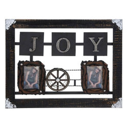 Benzara - Metal Wall Photo Frame with Miter Joint and Rusty Finish - Combining elements of style and brightness, this photo frame comes with exquisite workmanship, and has the letters of joy showcased prominently. Suitable to be hung conveniently on the wall, this photo frame brings joy with the display of your treasured moments. The photo frame is made of excellent quality metal and is bestowed with durability to adorn your home for a long time. The frame is dark hued with natural rusty finish, and comes as a thick rim encompassing the components inside. The miter joints on the frame are beautifully done with silver hued metallic reinforcements that further strengthen the sturdiness of the frame. There are separate sections similarly designed to fix two photographs separated by a wheel and rope like patterns. The metal accents and the wire like patterns add to the expression of a modern art scenario. Spice up your wall space with sweet memories, stylishly displayed in this photo frame.