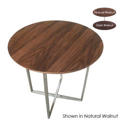 Nuevo Living - Dixon Side Table, Dark Walnut - With its lean wooden top and slender stainless steel legs, this round side table has a stylishly slim profile, giving you extra surface space without seeming to take up much space in the room. Place it next to heavier or more angular-looking furniture to lighten and soften your look, or use it in a minimalist contemporary setting to maintain that feeling of open space.