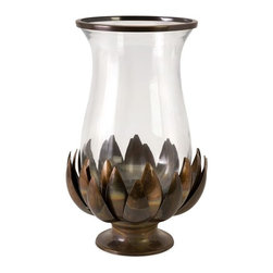 Imax Worldwide Home - Lotus Burned Copper Hurricane Candleholder - Material: 60% Glass, 40% Iron. 17 in. H x 11.5 in. D. Weight: 6.6 lbs.A burnished copper lotus flower gracefully holds and hourglass hurricane embellished with sleek copper trim.