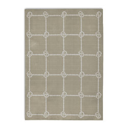 """Frontgate - Nautical Knot Outdoor Area Rug - Frontgate exclusive. Adds warmth underfoot in cooler temperatures and relief from hot surfaces in summer. Protected against UV rays and fading. Features a mildew-proof back. Resistant to mold, mildew, driving rain and heavy foot traffic. Depicting interwoven rope with a boating knot motif, our Nautical Knot Outdoor Rug achieves a geometric balance in your choice of four inviting colors. With colorfast dyes and UV-proof polyester yarns that resist staining, mold and mildew, this rug will earn a long-lasting home in any outdoor space. . . . . . Printed with cationic dye for colorfastness. Woven of 100% """"PET"""" polyester (polyethylene terephthalate) for stain resistance and enduring beauty. .38"""" thick. Lightweight and easy to move. Rug pad (sold separately) can provide additional cushioning and increased water drainage . Hose clean and allow to dry in the sun; use mild soap for hard-to-remove stains. Designed by Barclay Butera. Available in four colors: Khaki, Light Green, Navy and Rust. Imported."""