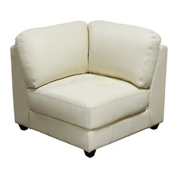 Diamond Sofa - Zen All Leather Tufted Seat Square Corner Cha - Top Grain Leather in Eggshell Finish. Polydacron, Polyester Fibers. Attached Seat & Back Cushions. Modular Design allows for complete custom configurations. Sinuous Spring Seat Suspension. Hardwood Frame with Lifetime Warranty. No Assembly Required. 36 in. L x 37 in. W x 33 in. H (84 lbs.)The Zen Collection by Diamond Sofa has a chic, urban loft contemporary feel with all the flexibility of modular living. No matter the size and shape of the room, the Zen Collection offers a refined and impressive solution to your special needs while bringing a distinguished look of elegance to your living space. Comfort, Style, Flexibility...the Zen Collection has it all. The all leather White Square Corner Chair features a kiln-dried hardwood frame that is glued and reinforced, offers strength, while the zig zag spring suspension base gives you a supple seating that will hold up for years. The elastic webbing back suspension offers additional stability while allowing for the leather to breathe and maintain its shape. Tufted seat cushions are comprised of a high density foam cushion wrapped in polyester fibers to ensure a comfortable, relaxing and lasting seat. Seat cushions and back pillows are attached to the frame to eliminate shifts or gaps. The slightly tapered arm, espresso wood legs promote an aura of refined elegance. Top grain leather lines the interior of the piece, while sides and back are completely finished in split leather to ensure lasting flexibility, as well as, resistance to stretching or tearing.