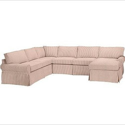 """PB Basic Left 4-Piece Chaise Sectional Slipcover, Ticking Stripe Cardinal Red - Designed exclusively for our PB Basic Sectional, these easy-care slipcovers have a casual drape, retain their smooth fit, and remove easily for cleaning. Select """"Living Room"""" in our {{link path='http://potterybarn.icovia.com/icovia.aspx' class='popup' width='900' height='700'}}Room Planner{{/link}} to select a configuration that's ideal for your space. This item can also be customized with your choice of over {{link path='pages/popups/fab_leather_popup.html' class='popup' width='720' height='800'}}80 custom fabrics and colors{{/link}}. For details and pricing on custom fabrics, please call us at 1.800.840.3658 or click Live Help. All slipcover fabrics are hand selected for softness, quality and durability. {{link path='pages/popups/sectionalsheet.html' class='popup' width='720' height='800'}}Left-arm or right-arm configuration{{/link}} is determined by the location of the arm on the love seat as you face the piece. This is a special-order item and ships directly from the manufacturer. To view our order and return policy, click on the Shipping Info tab above."""
