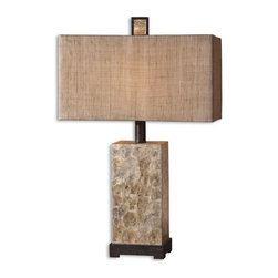 Uttermost - Rustic Mother Of Pearl Table Lamp - Antiqued Mother Of Pearl Shell With Rustic Dark Bronze Details And Matching Finial. The Rectangle Box Shade Is Burlap Textile With Natural Slubbing. Number Of Lights: 1, Shade: Rectangle Drum Shade, Shade Size: Height: 10, Top: 18w X 9d, Bottom: 18w X 9d, Voltage: 110, Wattage: 100w, Bulbs Included: No