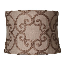 """Springcrest - Traditional Leiden Taupe Modified Drum Shade 13x14x10 (Spider) - Add casual comfort to an outdated lamp with this decorative drum shade. Warm taupe burlap is adorned in an embroidered scroll motif made of yarn while the edges are finished with a rolled trim. With a polished brass spider fitting. The correct size harp is included free with this shade. Taupe burlap fabric drum shade. Embroidered scrolls in yarn. Tan polyester blend lining. Rolled edger trim. 13"""" wide across the top 14"""" wide across the bottom and 10"""" on the slant. 10"""" high.  Taupe burlap fabric drum shade.  Embroidered scrolls in yarn.  Tan polyester blend lining.  Rolled edger trim.  From the Springcrest collection of lamp shades.  13"""" wide across the top.  14"""" wide across the bottom.  10"""" high.  10"""" on the slant."""