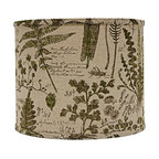 "Lamps Plus - Themed Cedar Moss Woodlands Drum Lamp Shade 16x16x13 (Spider) - This drum lamp shade features cotton fabric with renderings of cedar and moss and a chrome spider fitter for a dash of brilliance. A pleasing accent shade to spruce up a floor or table lamp. The correct size harp is included free with this purchase. Drum lamp shade. Cotton exterior. Cedar and moss woodland design. Spider fitter.  Unlined. Correct size harp included. 14"" across the top. 16"" across the bottom. 13"" high.  Drum lamp shade.  Cotton exterior.  Cedar and moss woodland design.  Spider fitter.  Unlined.  Correct size harp included.  16"" across the top.  16"" across the bottom.  13"" high."