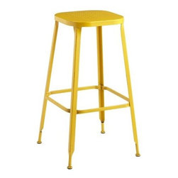 Weldon Backless Bar Stool, Yellow - These colorful stools, which are available in both bar and counter heights, just beg to be pulled up for a morning coffee and a chat with a good friend.