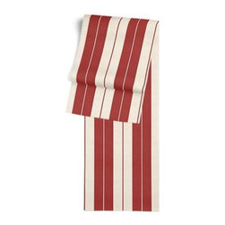 Red Racing Stripe Custom Table Runner - Get ready to dine in style with your new Simple Table Runner. With clean rolled edges and hundreds of fabrics to choose from, it's the perfect centerpiece to the well set table. We love it in this barn red and tan woven racing stripe. A classic alternative to the traditional awning stripe that can work in any decor.