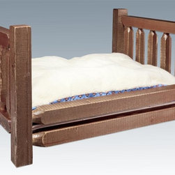 Montana Woodworks - Pet Bed in Stained and Lacquered Finish - Includes fleece lined plush mattress. Handcrafted. Trim pieces are sawn square. Heirloom quality. Durable build and fit. Constructed using the tried and true mortise and tenon joinery system. Frame constructed of solid lodge pole pine. Made from solid grown wood and timbers. Made in USA. Minimal assembly required. Mattress: 30 in. W x 40 in. H . Overall: 34 in. W x 23 in. H x 44 in. L (77 lbs.). Warranty. Use and Care InstructionsMontana woodworks, the largest manufacturer comes the all new homestead collection line of furniture products. Imagine your pet snuggling into the furry warmth pet bed. Give your pet the gift of contentment while adding the elegance of rustic decor to your home. This pet bed is sure to be your pet's favorite place of rest. Each piece signed by the artisan who makes It.
