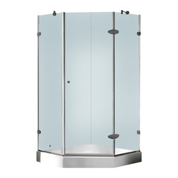 Vigo - Vigo 40 x 40 Frameless Neo-Angle 3/8in.  Clear/Brushed Nickel Shower Enclosure w - Both dramatic and space-saving, the Vigo frameless neo-angle shower enclosure creates a beautiful focal point for your bathroom.