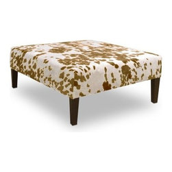Skyline Udder Madness Palomino Cocktail Ottoman - Sure an ordinary coffee table does a fine job of displaying things and chairs are great for seating but the Skyline Udder Madness Palomino Cocktail Ottoman exemplifies the options you get with a multi-purpose piece. For starters this durably constructed cocktail ottoman has a super-fun cowhide print faux fabric of course that cheers up any space. With a sturdy wooden frame and espresso-finished legs this ottoman is perfect for displaying decorative pieces or functioning as a tabletop surface for food drinks or trays. Or switch it up and use it for extra (adorable) seating or even a comfy footrest. This multifaceted piece was handcrafted in the USA. Enjoy! About Skyline Furniture Manufacturing Inc.Skyline Furniture was founded in 1948 with the goal of producing stylish affordable quality furniture for the home. After more than 50 years this family-run business is still designing and manufacturing unique products that meet the ever-changing demands of the modern home furnishing industry. Located in the south suburbs of Chicago the company produces a wide variety of innovative products for the home including chairs headboards benches and coffee tables.