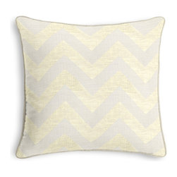 Gold Metallic & Ivory Chevron Corded Pillow - Black and white photos, Louis XIV chairs, crown molding: classic is always classy. So it is with this long-time decorator's favorite: the Corded Throw Pillow.  We love it in this pale gold metallic chevron on white linen that adds subtle shimmer to any space.