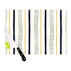"Kess InHouse - Laurie Baars ""Textured Stripes"" Abstract Lines Cutting Board, 11"" x 7.5"" - These sturdy tempered glass cutting boards will make everything you chop look like a Dutch painting. Perfect the art of cooking with your KESS InHouse unique art cutting board. Go for patterns or painted, either way this non-skid, dishwasher safe cutting board is perfect for preparing any artistic dinner or serving. Cut, chop, serve or frame, all of these unique cutting boards are gorgeous."