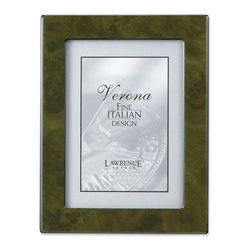 Lawrence Frames - Forest Green Faux Burl 8x10 Picture Frame - Polished Lustrous Finish - Elegant forest green burl design picture frame has a brilliant polished finish.  Sides are trimmed in polished black which gives this frame a very tailored look.  Backs are fitted with high quality black composite backing.  Can be used vertically or horizontally for tabletop display, or wall mounted vertically or horizontally with included hangers.  Individually boxed.