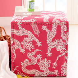 """Lilly Pulitzer - Lilly Pulitzer """"Candice"""" Ottoman - Cavorting Chinese dragons add a touch of whimsy to this charming ottoman. Covered in Lilly Pulitzer fabric by Lee Jofa. Frame made of furniture-grade hardwoods. Linen upholstery. 25""""Sq. x 25""""T. Handcrafted in the USA. Boxed weight, approximately...."""