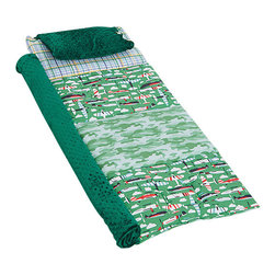 Janiebee Quilted Nap Mats - Aviator Quilted Nap Mat by Janiebee - Up and Away We Go!  Feel the need for speed and camo? Then this is your nap mat!  Made of fabric designed by Maude Asbury, we have planes, plaids and camo, all topped off with beautiful dark emerald green Minky brand blanket and pillowcase.
