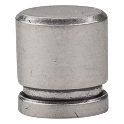 """Top Knobs - Small Oval Knob 1"""" - Pewter Antique - Length - 1"""", Width - 1/2"""", Projection - 1 1/8"""""""