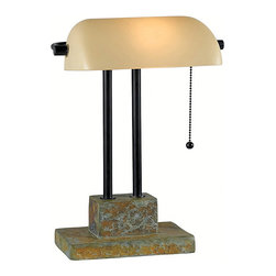 None - Parker 15-inch Natural Slate Banker Lamp - The classic shape of the banker's lamp gets an update with a natural slate finish, dual column construction and a creamy glass shade. A perfect accent piece for a desk or bedside table.