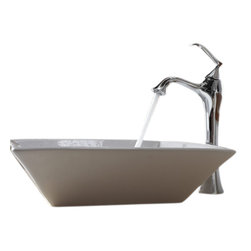 Kraus - Kraus White Square Ceramic Sink and Ventus Faucet - Add a touch of elegance to your bathroom with a ceramic sink combo from Kraus.