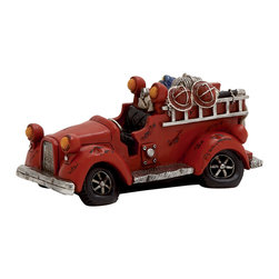 Wonderful Polystone Fire Truck Piggy Bank - Description: