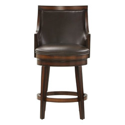 Home Decorators Collection - Nelson Swivel Counter Stool - Our Nelson Swivel Counter Stool is a handsome addition to any bar or kitchen area. Gently sloping arms complement the square back and tapered legs. Constructed of hardwood with veneer in a rustic oak finish. Seat upholstered in bonded leather.