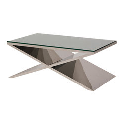 "Nuevo Living - Prague Coffee Table - You've got the ""X"" factor with this coffee table. Boldness balanced with simplicity, the stainless steel and tempered glass piece makes a striking addition to your favorite modern setting."