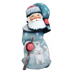 "Artistic Wood Carved Santa Claus with Delightful Polar Bears Sculpture - Measures 6.25""H x 3""L x 3""W and weighs 1 lb. G. DeBrekht fine art traditional, vintage style sculpted figures are delightful and imaginative. Each figurine is artistically hand painted with detailed scenes including classic Christmas art, winter wonderlands and the true meaning of Christmas, nativity art. In the spirit of giving G. DeBrekht holiday decor makes beautiful collectible Christmas and holiday gifts to share with loved ones. Every G. DeBrekht holiday decoration is an original work of art sure to be cherished as a family tradition and treasured by future generations. Some items may have slight variations of the decoration on the decor due to the hand painted nature of the product. Decorating your home for Christmas is a special time for families. With G. DeBrekht holiday home decor and decorations you can choose your style and create a true holiday gallery of art for your family to enjoy. All Masterpiece and Signature Masterpiece woodcarvings are individually hand numbered. The old world classic art details on the freehand painted sculptures include animals, nature, winter scenes, Santa Claus, nativity and more inspired by an old Russian art technique using painting mediums of watercolor, acrylic and oil combinations in the G. Debrekht unique painting style. Linden wood, which is light in color is used to carve these masterpieces. The wood varies slightly in color."