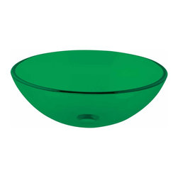 The Renovators Supply - Vessel Sinks Green Glass Vessel Sink Round Single Layer | 17101 - Glass Vessel Sinks: Single Layer Tempered glass sinks are five times stronger than glass, 1/2 inch thick, withstand up to 350 F degrees, can resist moderate to high degrees of impact and are stain-proof. Ready to install this package includes FREE 100% solid brass chrome-plated pop-up drain, FREE machined 100% solid brass chrome-plated mounting ring and silicone gasket. Measures 16 1/2 inch diameter x 6 inch deep x 1/2 inch thick.