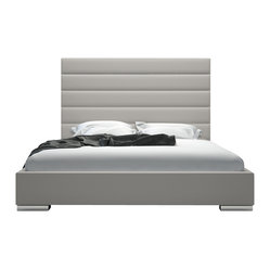 Prince Bed, Warm Gray Leather