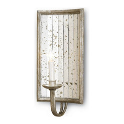 Currey and Company - Twilight Wall Sconce - Beautiful wall sconce featuring an antique mirror reflection design. The individual mirrors are hand applied. Wall sconces are sold as pin-ups which allows them to be either hardwired or plugged in.