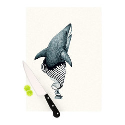 """Kess InHouse - Graham Curran """"Shark Record"""" Cutting Board (11.5"""" x 15.75"""") - These sturdy tempered glass cutting boards will make everything you chop look like a Dutch painting. Perfect the art of cooking with your KESS InHouse unique art cutting board. Go for patterns or painted, either way this non-skid, dishwasher safe cutting board is perfect for preparing any artistic dinner or serving. Cut, chop, serve or frame, all of these unique cutting boards are gorgeous."""