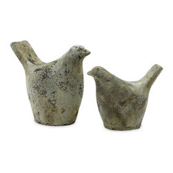 Julia Doves - Set of 2 - *Rustic concrete dove garden statues.