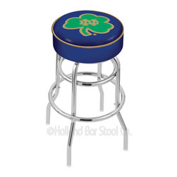"Holland Bar Stool - Holland Bar Stool L7C1 - 4 Inch Notre Dame (Shamrock) Cushion Seat - L7C1 - 4 Inch Notre Dame (Shamrock) Cushion Seat w/ Double-Ring Chrome Base Swivel Bar Stool belongs to College Collection by Holland Bar Stool Made for the ultimate sports fan, impress your buddies with this knockout from Holland Bar Stool. This L7C1 retro style logo stool has a 4"" cushion with a tough double-ring base and a chrome finish. Holland Bar Stool uses a detailed screen print process that applies specially formulated epoxy-vinyl ink in numerous stages to produce a sharp, crisp, clear image of your desired logo. You can't find a higher quality logo stool on the market. The structure is triple chrome-plated to ensure a rich, polished finish that will last ages. If you're going to finish your bar or game room, do it right- with a Holland Bar Stool. Barstool (1)"