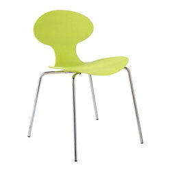 Eurostyle - Eurostyle Becky Stackable Side Chair in Apple Green w/ Chromed Frame [Set of 4] - Stackable Side Chair in Apple Green w/ Chromed Frame belongs to Becky Collection by Eurostyle The one-piece seat and back is sculpted to fit the human frame. Support is in all the right places. The natural curves are as soft as they are inviting. Four different colors all on a fully-welded steel base. Side Chair (4)