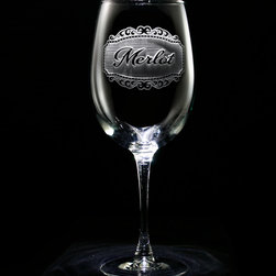 "Crystal Imagery, Inc. - Merlot Wine Glass, Engraved Set of 2 - Our engraved Merlot Wine Glass is a unique gift for the wine lover or wine connoisseur. Our in house designers have created this beautiful design in which our master carvers will carve out the background panel, leaving the lettering and design raised from the wine glass in a three dimensional manner. If Merlot wine isn't your favorite, be sure to check our shop for many other specific wine type glasses from which you can choose, or buy a set of the entire collection of eight! At 9"" high by 3.5"" wide, our wine glasses hold 19 oz. A set of these etched wine glasses will be the favorite gift at any special gift giving occasion. Dishwasher safe."