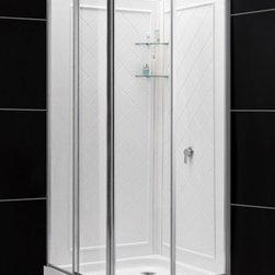 """DreamLine - DreamLine DL-6150-01 Cornerview Shower Enclosure, Base & Backwalls - DreamLine Cornerview Framed Sliding Shower Enclosure, 36"""" by 36"""" Double Threshold Shower Base and QWALL-4 Shower Backwall Kit"""