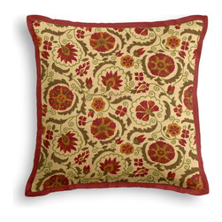 Red & Beige Suzani Tailored Pillow - The Tailored Throw Pillow is an updated, contemporary pillow style with the center fabric framed by a thin contrast flange.  Voila…it's artwork for your couch!  We love it in this eclectic swirling suzani in rust red & grass green on tan linen.