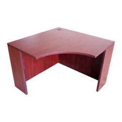 Boss - Corner Table - Mahogany - The corner desk shell is a good stand alone unit. Or it can be accessorized with the corner hutch and additional units can be use adjacent to create the ultimate workstations. The Mahogany laminate is durable yet attractive. The desk is rounded out with 3mm edge banding.