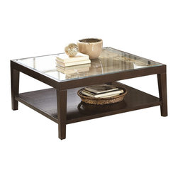 Homelegance - Homelegance Vincent Cocktail Table in Espresso - Homelegance - Coffee Tables - 329901 - Glass overlays the intricate acacia wood block staggered pattern of the Vincent Collection. Each intricate pattern surrounds a center contrasting block. These unique tables feature display shelves and a modern two-toned finish.