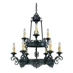 Savoy House - Two Tier Nine Light Up Lighting Chandelier Barista Collection - A Karyl Pierce Paxton design, with open filigree accents in the sophisticated Slate finish, detailed with copper edging Many choices abound in this full family with beautiful pendants, sconces, and bath bars featuring magnificent Venetian glass.