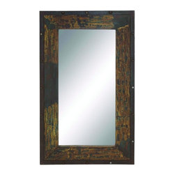 """Benzara - Arnia Antique and Stylish Wood Metal Mirror - Spread the aura of old charm to your modern abode. Made of wooden panel, this wall mirror panel features an unfinished and peeling effect for an old charm effect and compete with a metal lining on the edges. The metal lining also features nails that is embedded in them. This rectangular shaped wall panel can brighten up any plain wall or space adding depth and making the room look spacious and brighter. The corners of this unique mirror panel is assured to attract your guest's attention and their praise for its beauty.This vintage themed wall mirror panel is easy to clean and maintain. Designed to suit all types of environment and ambience, this is assured to make your home look glamorous. You can even present it to your family and friends and they are sure to cherish it. So get one now and experience the change!. This Wood Metal Mirror measures 36 inch (W) x 2 inch (L) x 60 inch (H); Made of mirror with wood panel; Rough finishing for antique appeal; Dimensions: 24""""L x 2""""W x 70""""H"""
