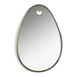 Interlude - Bella Oval Mirror, Antique Brass - A classic oval shape in friendly proportions is made special with the thin metal frame and faux wall hook detailing.