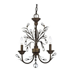 Ashford Classics Lighting - Crystal Mini-Chandelier With Three Lights - Bronze finish chandelier with crystal accents and three lights. Perfect for hanging over a small dining nook, foyer, or bedroom. Takes (3) 60-watt incandescent flame bulb(s). Bulb(s) sold separately. UL listed. Dry location rated.