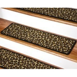 """Dean Flooring Company - Dean Premium Carpet Stair Treads - Leopard 30"""" x 9"""" - Dean Premium Carpet Stair Treads - Leopard 30"""" x 9"""" : Beautiful Plush Premium Carpet Stair Treads by Dean Flooring Company Leopard Luxurious and resilient texture High fashion design Densely woven construction Uncommon softness and durability Made from premium quality broadloom Stylish enough to compliment the finest decors Color: Leopard Stair treads are approximately 30 inches by 9 inches Set includes 13 pieces Each tread is machine serged with color matching yarn Helps prevents slips on your hardwood stairs Provides warmth and comfort Extends the life of your hardwood stairs We can also list custom matching hallway runners and area rugs upon request. Easy do-it-yourself installation with doubles sided carpet tape (sold separately)."""