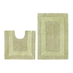 None - Celebration Reversible 'Race Track' Sage 2-piece Contour and Bath Rug Set - Add a plush touch to your bathroom decor with this two-piece bath rug set. Constructed of soft cotton,this absorbent set is fully reversible.