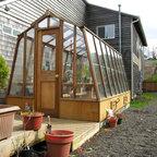 Solite greenhouse kits - 8 x 14 Solite greenhouse.  Redwood frame on Sturdi-Built wooden base.